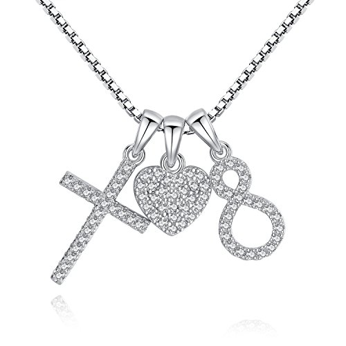 Usview Heart Infinity Endless Love Cross CZ Pendant Necklace, Jewelry Gifts for Her, Girl, Women Friendship, 18'' (set) by Usview (Image #4)