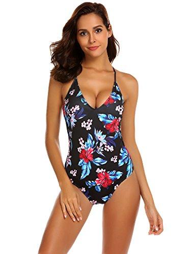 Ekouaer Women's One Piece Swimsuits Monokini Lace up U Back Bathing Suit (Red Black Pattern, -