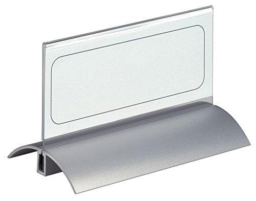 DURABLE 820119 - Desk Presenter De Luxe, portanome da tavolo, tenuta sicura del pannello, 61/122x150 mm, trasparente, confezione da 2 pezzi