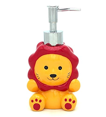 Sania India Handcraft Poly Resin Refillable Cute Hand Soap Holder and Dispenser with Stainless Metal Soap Dispensing Pump for Kids Bathroom Shower and Kitchen Sink Accessory (Lion)