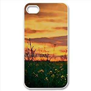 Sunset Sky Over Canola Field Watercolor style Cover iPhone 4 and 4S Case (Landscape Watercolor style Cover iPhone 4 and 4S Case)