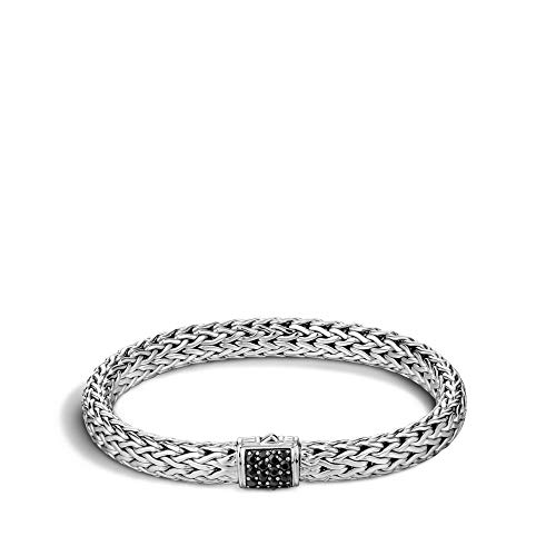 John Hardy Women's Classic Chain Silver Lava Medium Bracelet with Black Sapphire, Size L ()