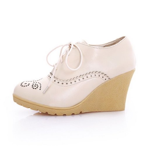 AmoonyFashion Womans Closed Round Toe High Heel Wedges PU Soft Material Solid Pumps with Bandage Aoricot hGcYKmjwM