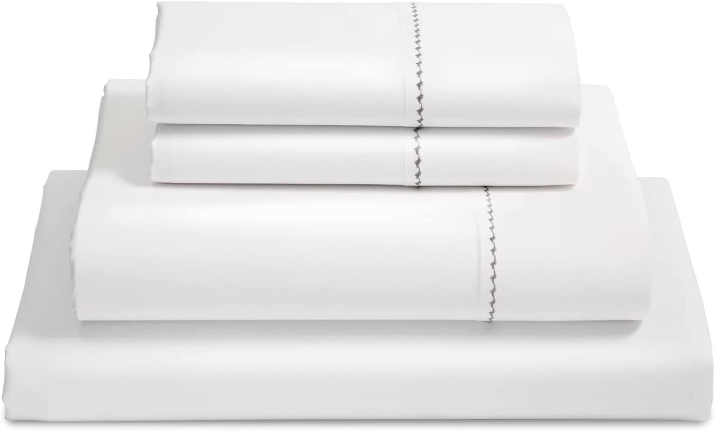 Bedsure Egyptian Cotton Sheet Sets - 1000 Thread Count Queen Luxury Hotel Sheets, 3 PC Deep Pocket Durable Bed Sheets Sateen Weave, White (90