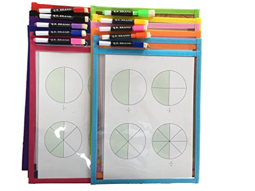 Dry Erase Pocket Sleeves: ( 10 pack ), Reusable, Dry Erase Markers Included, 10x14 inch, 10 Fun Colors, Ideal for Both Children and Adults, Office and School Work, Colorful Marker Pens Included