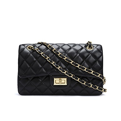 Women's Chain Quilted PU Leather Shoulder Bag (10'', Black)