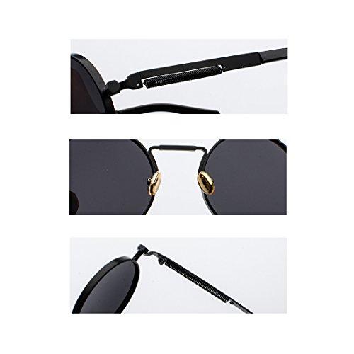 vintage gafas de primavera Marrón metal gafas Gafas de las de Yefree redondas señoras ovales wEYXxq7