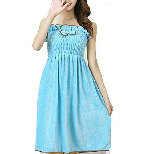 Microfiber Womens Dress - Osave Women Spa Shower Towel Wrap Soft Flannel Bathrobe Sleewear Dress (Blue #1)