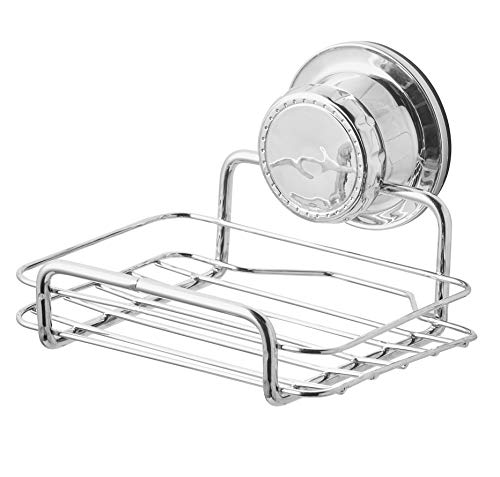 (BM Home - Extra Strong Suction Cup Soap Dish - Bar Soap Holder - no Drill needed - Rust Proof - Chrome)
