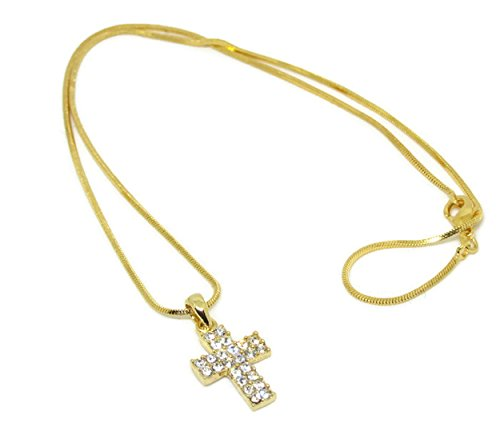 Necklace Stainless Steel Color Gold Simple Small Cross Pendant Christian Religious for Women Girls