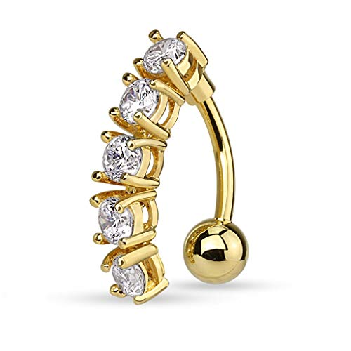 Pierced Owl 5 CZ Crystal Vertical Drop Reverse Belly Button Navel Ring (Gold Tone/Clear)