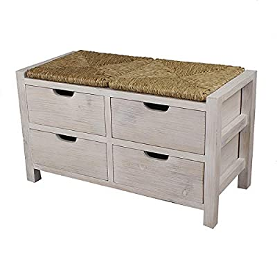 HomeRoots White Wash W/Natural Seagrass Wood, MDF, Seagrass 20 White Wash Wood Bench with 4 Drawers and a Seagrass Top: Kitchen & Dining