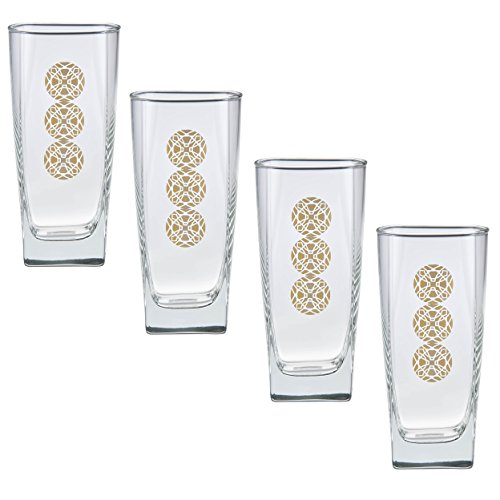Frank Lloyd Wright Limited Edition (Prism Medallions Design) Gold 22k Cooler Glass 16-Ounce Set of - Glasses Culver Gold
