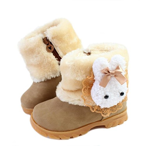 iLory Mädchen Warme Watte Gepolsterten Schuhe Kleinkindschuhe Schleife Fell Boots warm gefüttert Schlupfstiefel Kurzschaft