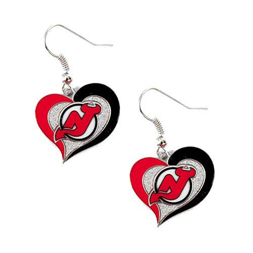 New Jersey Devils Swirl Heart Earring NHL Dangle Logo Charm Gift by (She Devil Costumes Ideas)