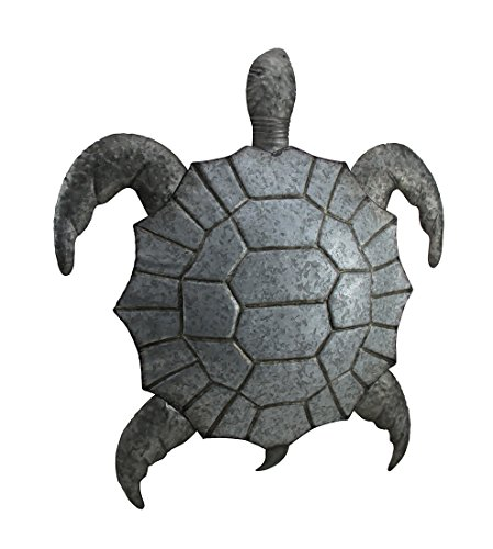 Cheap Zeckos Metal Wall Sculptures Galvanized Metal Giant Sea Turtle Wall Sculpture 19.75 X 23 X 2.75 Inches Silver