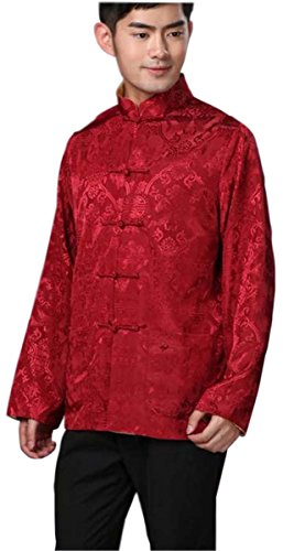 Blingland Chinese Traditional Uniform Top KungFu Shirt for Men US M Asia L-Red+Gold Photo #4