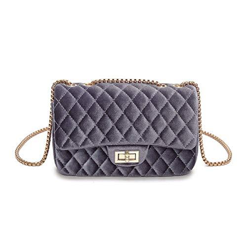 (LHKFNU Women Brand Fashion Luxury Handbag Suede Chain Shoulder Bag Quilted Women's Crossbody Bag)