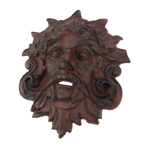 Things2Die4 Cast Iron Celtic Green Man Wall Hanging Antiqued - Sculpture Wall Face