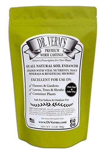 Dr. Verm's Premium Worm Castings - Organic Soil Builder and Fertilizer (2 LB) ()