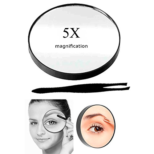 Cosmetic Mirror 5X Magnifying Compact with Suction Cups and Tweezerss Make Up !