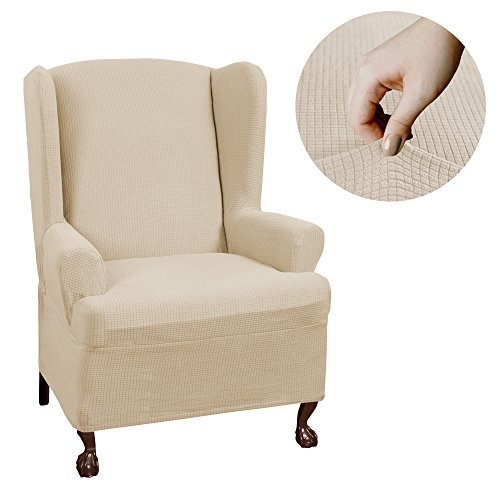(Maytex Reeves Stretch 1 - Piece T - Cushion Wingback Chair with Arms Furniture Cover Slipcover, Natural)