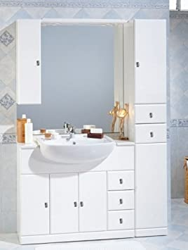 Meuble De Salle Bain Avec Lavabo 100 Cm Et 30 Semincasso Miroir Colonne