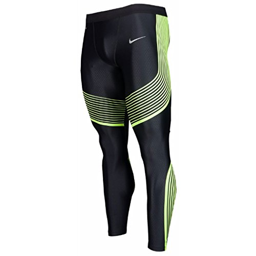 Nike Mens Power Speed Compression Running Tights Pants (2X-Large, Black/Volt)