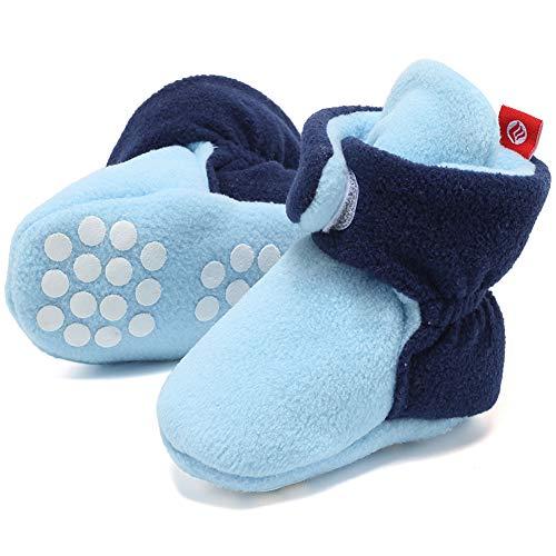 FANTINY Newborn Baby Cozy Fleece Booties with Non Skid Bottom,DNDXBX,N.Light Blue/Navy,12