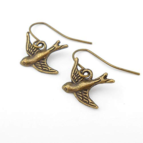 (Classic Swallow Earrings on Minimalist earwires in Antique Bronze, includes Gift Box)