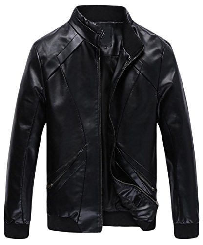 Collar Zip Front Leather Jacket - 6