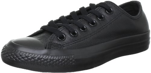 Converse Unisex Chuck Taylor All Star Ox Fashion Sneaker Leather Shoe - Black Mono - Mens - 10.5 (Leather Converse Shoes Black)