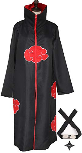 Yanhusu Akatsuki Cosplay Uchiha Robe Cloak Headband and Throwing Stars Unisex Halloween Costume(M)