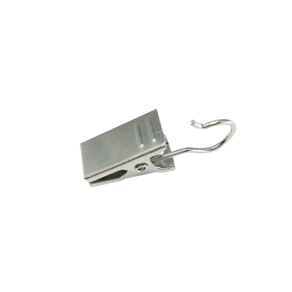 fish 10pcs clips cortina de ducha para trabajo pesado gancho de la plata pinzas de resorte Abrazaderas Percha planeador Peg Pasadores