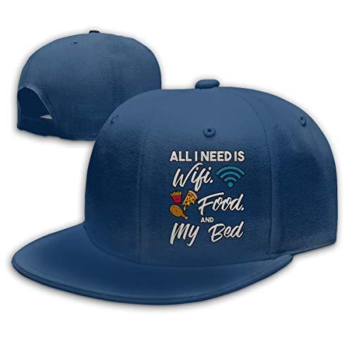 Aiguan All I Need is WiFi Food and My Bed Flat Visor Baseball Cap, Fashion Snapback Hat Navy