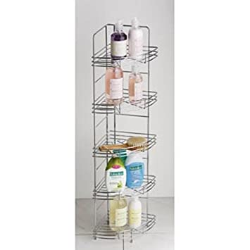 Chrome Metal Free Standing Bathroom Corner Storage Tidy Rack: Amazon ...