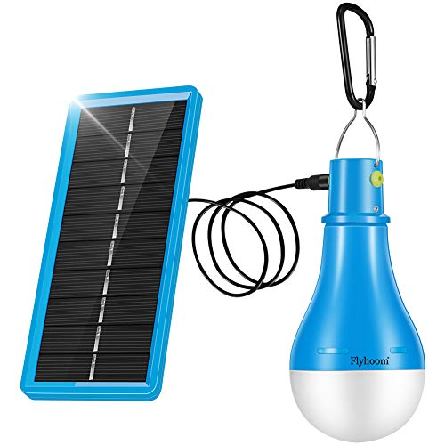 Flyhoom Portable LED Solar Lantern Tent Light Bulb Outdoor Solar Powered Camping Lights for Indoor, Emergency, Hurricane, Power Outage FNSL4, Blue