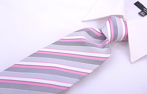 Striped Ties for Men - Woven Necktie - Pink by Scott Allan Collection (Image #3)