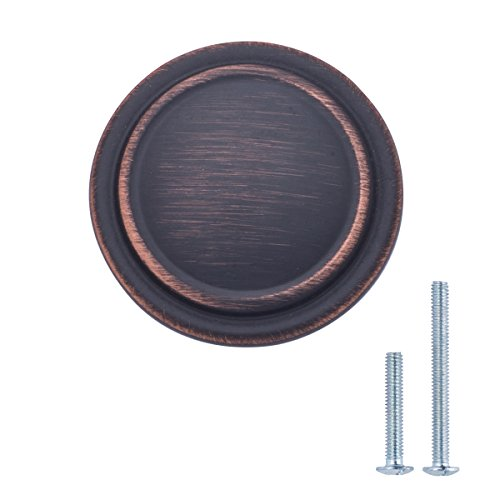 AmazonBasics Straight Top Ring Cabinet Drawer Knob, 1.25 Inch Diameter, Oil Rubbed Bronze, 10-Pack