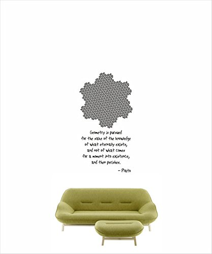 gtrsa Science Art Mathematics Plato Quote and Gosper Curve Sticker for University and School Classroom Inspirational Wall Decal Church Wall Decal, Daycare Wall Decal, Bible, Hymn