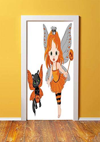 Halloween 3D Door Sticker Wall Decals Mural Wallpaper,Halloween Baby Fairy and Her Cat in Costumes Butterflies Girls Kids Room Decor Decorative,DIY Art Home Decor Poster Decoration 30.3x78.3868,Multic