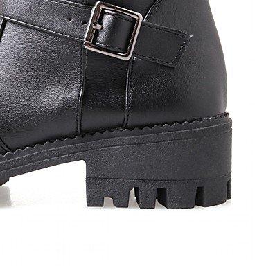 Heart&M Mujer Zapatos Semicuero Otoño Invierno Botas de Moda Botas Tacón Robusto Dedo redondo Hasta la Rodilla Hebilla Para Casual Negro Marrón black