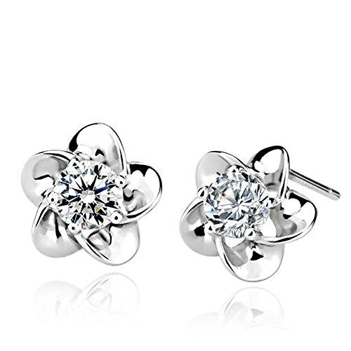 Gintan 925 Sterling Silver Rose Flower Shaped Stud Earrings with White Cubic Zircon, 10mm (White Gold Zircon Earrings)