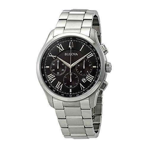 Bulova Classic Wilton Black Dial Stainless Steel Men's Watch 96B288 ()
