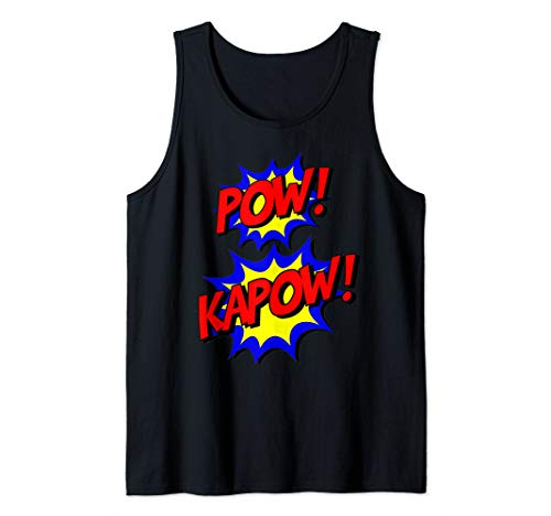 Pow Kapow Funny Comic Superhero Halloween Costume for Kids Tank Top]()