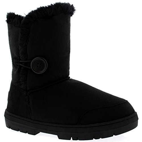 Fully Black Fur Womens Snow Lined Single Boots Button Winter Waterproof HwPECBqz