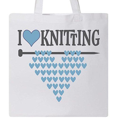Inktastic - Knitter Gift I Love Knitting Tote Bag White 2eefe