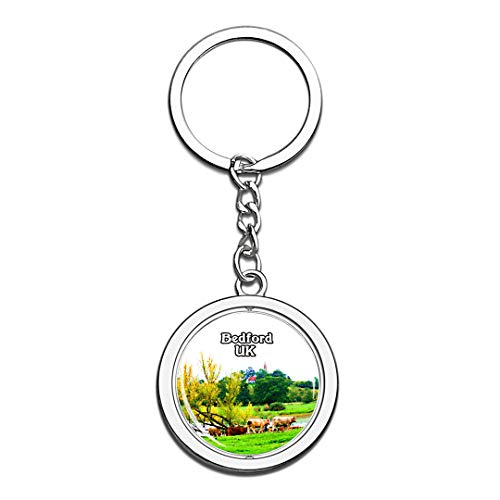 Bedford Harrold Odell Country Park UK England Keychain 3D Crystal Creative Spinning Round Stainless Steel Keychain Travel City Souvenir Key Chain