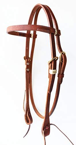 Amish-Tack-USA-Horse-Saddle-Bridle-Western-Leather-Headstall-Brass-78RT01