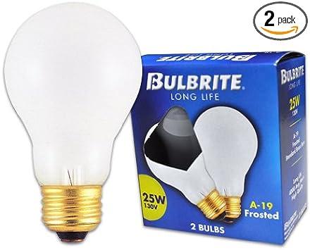 Bulbrite 25a 25 Watt 130 Volt Long Life Standard Incandescent A19 2 Pack Frost Incandescent Bulbs
